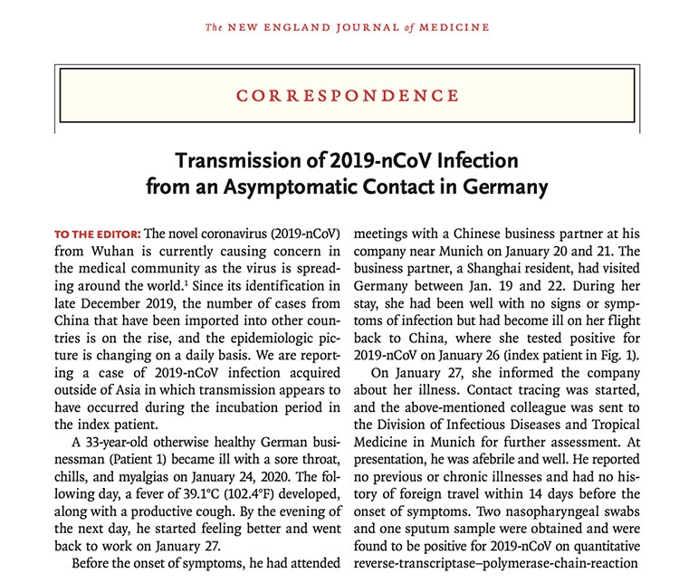 Transmission of 2019-nCoV Infection from an Asymptomatic Contact in Germany