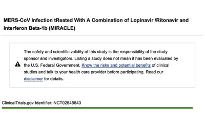 MERS-CoV Infection tReated With A Combination of Lopinavir / Ritonavir and Interferon Beta-1b (MIRACLE)